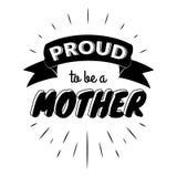 Υπερήφανος για να είναι ετικέτες μιας εκλεκτής ποιότητας γράφοντας πρόσκλησης μητέρων με τις ακτίνες Στοκ φωτογραφία με δικαίωμα ελεύθερης χρήσης