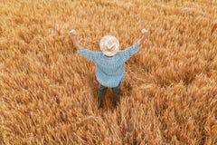 Υπερήφανος ευτυχής νικηφορόρος αγρότης κριθαριού με τα χέρια που αυξάνονται στο Β στοκ εικόνες με δικαίωμα ελεύθερης χρήσης
