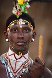 Υπερήφανος πολεμιστής Samburu στο νότο Horr, Κένυα στοκ εικόνα με δικαίωμα ελεύθερης χρήσης