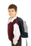 Υπερήφανος schoolboy με την τσάντα στοκ φωτογραφία με δικαίωμα ελεύθερης χρήσης