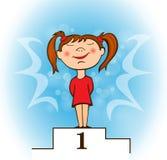 Υπερήφανο κορίτσι στη διανυσματική απεικόνιση εξεδρών Στοκ Εικόνα