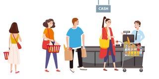 Υπεραγορά ή κατάστημα, γραφείο μετρητών και ταμίας Αγοραστές ανδρών και γυναικών, προϊόντα κάρρων Μεγάλο εμπορικό κέντρο r διανυσματική απεικόνιση