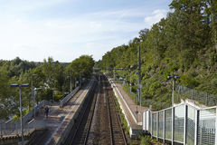 Υπεραστικός σταθμός τρένου (s-Bahn) Έσσεν-Holthausne (Γερμανία) στοκ εικόνες