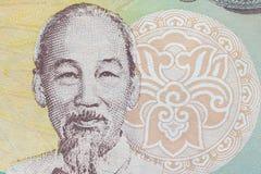 Υπερβολικός μακρο πυροβολισμός του πορτρέτου του Ho Chi Minh από το βιετναμέζικο τραπεζογραμμάτιο χρημάτων στοκ φωτογραφίες με δικαίωμα ελεύθερης χρήσης