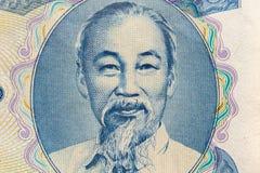 Υπερβολικός μακρο πυροβολισμός του πορτρέτου του Ho Chi Minh από το βιετναμέζικο τραπεζογραμμάτιο χρημάτων στοκ φωτογραφία