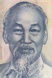Υπερβολικός μακρο πυροβολισμός του πορτρέτου του Ho Chi Minh από το βιετναμέζικο τραπεζογραμμάτιο χρημάτων στοκ εικόνες