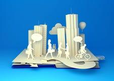 Υπερεμφανιζόμενο βιβλίο - πολυάσχολη ζωή πόλεων Στοκ Εικόνα