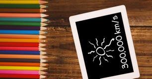Υπερυψωμένη άποψη του συμβόλου και των αριθμών στην ψηφιακή ταμπλέτα από τα μολύβια χρώματος στον πίνακα Στοκ Φωτογραφίες