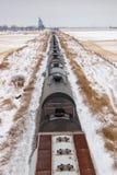 Υπερυψωμένη άποψη των αυτοκινήτων σιδηροδρόμων στο χιονώδες λιβάδι Στοκ Εικόνα