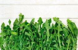 Υπερυψωμένη άποψη των φρέσκων οργανικών πρασίνων πικραλίδων στοκ εικόνα με δικαίωμα ελεύθερης χρήσης