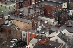 Υπερυψωμένη άποψη των χαρακτηριστικών σπιτιών της Βοστώνης Στοκ φωτογραφία με δικαίωμα ελεύθερης χρήσης