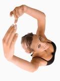 υπερυψωμένη γυναίκα όψης τεντώματος στοκ φωτογραφία