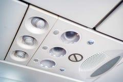 Υπερυψωμένη κονσόλα στα σύγχρονα αεροσκάφη επιβατών Στοκ Εικόνα