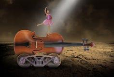 Υπερφυσική μουσική, βιολί, μπαλέτο, χορός, κορίτσι στοκ εικόνες