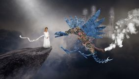 Υπερφυσικός δράκος Steampunk, φαντασία, φαντασία, νέο κορίτσι διανυσματική απεικόνιση