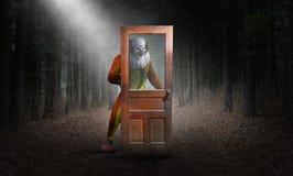 Υπερφυσικός κακός κλόουν, ξύλα, αποκριές ελεύθερη απεικόνιση δικαιώματος