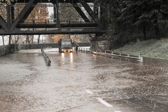 Υπερχείλιση Ticino ποταμών σε Sesto Calende, Βαρέζε Στοκ Φωτογραφίες