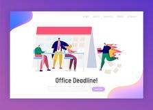 Υπερωρίες εργασίας Διευθυντών επιχείρησης γραφείων στην προσγειωμένος σελίδα προθεσμίας Πλήρης στόχος χαρακτήρα πίεσης διά τη σκλ διανυσματική απεικόνιση