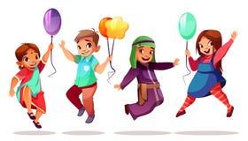 Υπηκοότητες παιδιών με τα διανυσματικά μπαλόνια απεικόνιση αποθεμάτων