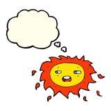 λυπημένος ήλιος κινούμενων σχεδίων με τη σκεπτόμενη φυσαλίδα Στοκ εικόνες με δικαίωμα ελεύθερης χρήσης