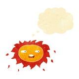 λυπημένος ήλιος κινούμενων σχεδίων με τη σκεπτόμενη φυσαλίδα Στοκ φωτογραφίες με δικαίωμα ελεύθερης χρήσης