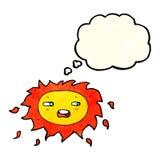 λυπημένος ήλιος κινούμενων σχεδίων με τη σκεπτόμενη φυσαλίδα Στοκ εικόνα με δικαίωμα ελεύθερης χρήσης