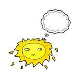λυπημένος ήλιος κινούμενων σχεδίων με τη σκεπτόμενη φυσαλίδα Στοκ Εικόνες