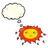 λυπημένος ήλιος κινούμενων σχεδίων με τη σκεπτόμενη φυσαλίδα Στοκ φωτογραφία με δικαίωμα ελεύθερης χρήσης