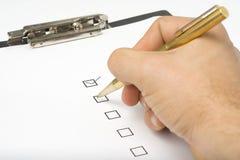 υπηρεσία ποιοτικών ερωτηματολογίων πινάκων ελέγχου Στοκ εικόνες με δικαίωμα ελεύθερης χρήσης