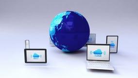 Υπηρεσία σύννεφων για την κινητή συσκευή, γύρω από τη γη, γήινος χάρτης, σφαιρική σύνδεση απεικόνιση αποθεμάτων