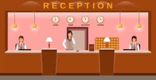 Υπηρεσία υποδοχής ξενοδοχείων Ευπρόσδεκτοι φιλοξενούμενοι υπαλλήλων ξενοδοχείων στον εργασιακό χώρο τους Ρεσεψιονίστ επιχειρησιακ διανυσματική απεικόνιση