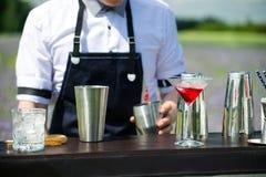 Υπηρεσία φραγμών τομέα εστιάσεως Bartender εργασία στην αναχώρηση Όμορφο β στοκ φωτογραφία με δικαίωμα ελεύθερης χρήσης