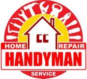 Υπηρεσίες εγχώριας επισκευής Handyman Στρογγυλό διανυσματικό σχέδιο για το λογότυπό σας Στοκ φωτογραφία με δικαίωμα ελεύθερης χρήσης