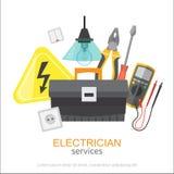 Υπηρεσίες ηλεκτρολόγων Επαγγελματική εγκατάσταση εργαλείων ηλεκτρικής ενέργειας έννοιας ηλεκτρολόγων Στοκ φωτογραφία με δικαίωμα ελεύθερης χρήσης
