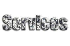 υπηρεσίες Η επιγραφή έχει μια σύσταση της φωτογραφίας, η οποία απεικονίζει πολλούς λογαριασμούς αμερικανικών δολαρίων στοκ εικόνα