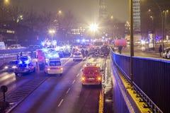 Υπηρεσίες διάσωσης στο σοβαρό ατύχημα Στοκ φωτογραφίες με δικαίωμα ελεύθερης χρήσης