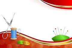 Υποβάθρου αφηρημένη ράβοντας νημάτων εξοπλισμού ψαλιδιού κουμπιών βελόνων απεικόνιση πλαισίων κορδελλών καρφιτσών γαλαζοπράσινη κ Στοκ Εικόνα