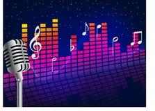 Υποβάθρου κύματα και σημειώσεις μουσικής υγιή που βγαίνουν από το αφηρημένο υπόβαθρο αστεριών μικροφώνων διανυσματική απεικόνιση