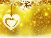 Υποβάθρου νέο έτος απεικόνισης θαμπάδων διακοσμήσεων καρδιών αστεριών χιονιού Χριστουγέννων χρυσό κίτρινο Στοκ Εικόνες
