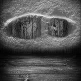 Υποβάθρου ξύλινο επιτροπής χιόνι τυπωμένων υλών παπουτσιών πινάκων γκρίζο Στοκ Εικόνες