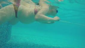 Υποβρύχια άποψη της κολύμβησης εγκύων γυναικών στη λίμνη απόθεμα βίντεο