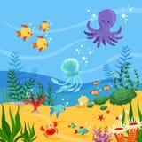 Υποβρύχια απεικόνιση υποβάθρου με τα ωκεάνια ζώα, τα φυτά και τα ψάρια Διανυσματικές εικόνες ελεύθερη απεικόνιση δικαιώματος