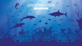 Υποβρύχια θάλασσα ή ωκεάνιο υπόβαθρο με το φύκι και τα ψάρια διανυσματική απεικόνιση