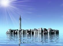 Υποβρύχια πόλη στον ωκεανό απεικόνιση αποθεμάτων
