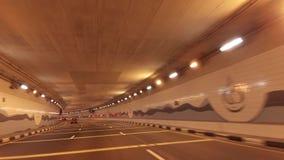 Υποβρύχια σήραγγα αυτοκινήτων στο τεχνητό βίντεο μήκους σε πόδηα αποθεμάτων Jumeirah φοινικών αρχιπελαγών φιλμ μικρού μήκους