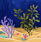 Υποβρύχια σκηνή με το φύκι, θαλάσσιο διάνυσμα ζωής ελεύθερη απεικόνιση δικαιώματος