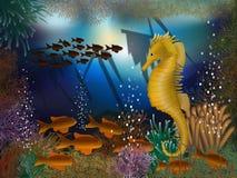 Υποβρύχια ταπετσαρία με το seahorse και τα ναυάγια Στοκ φωτογραφίες με δικαίωμα ελεύθερης χρήσης