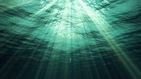 Υποβρύχιες ακτίνες ήλιων στον ωκεανό (βρόχος) ελεύθερη απεικόνιση δικαιώματος