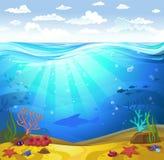 Υποβρύχιος βυθός με τα κοράλλια Στοκ Εικόνες