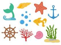 Υποβρύχιος Κάτω από τη θάλασσα - ουρά γοργόνων, αστερίας, θαλασσινά κοχύλια, χρυσά ψάρια, κοράλλι, φύκι, handwheel, άγκυρα, φυσαλ απεικόνιση αποθεμάτων